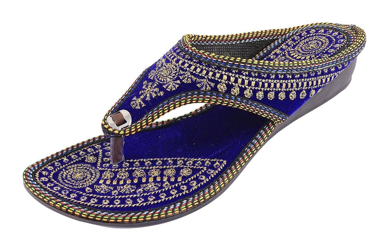 Rajasthani Blue Wedges Heels