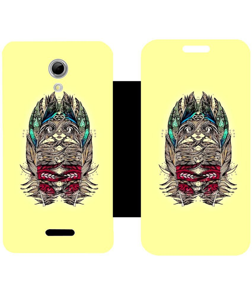 Micromax Canvas 2.2 A114 Flip Cover by Skintice - Yellow