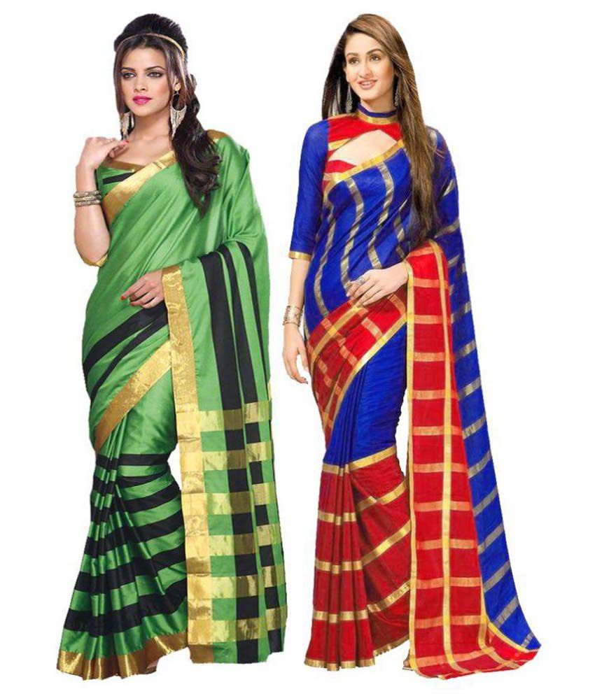 Dressy Multicoloured Chanderi Saree Combos