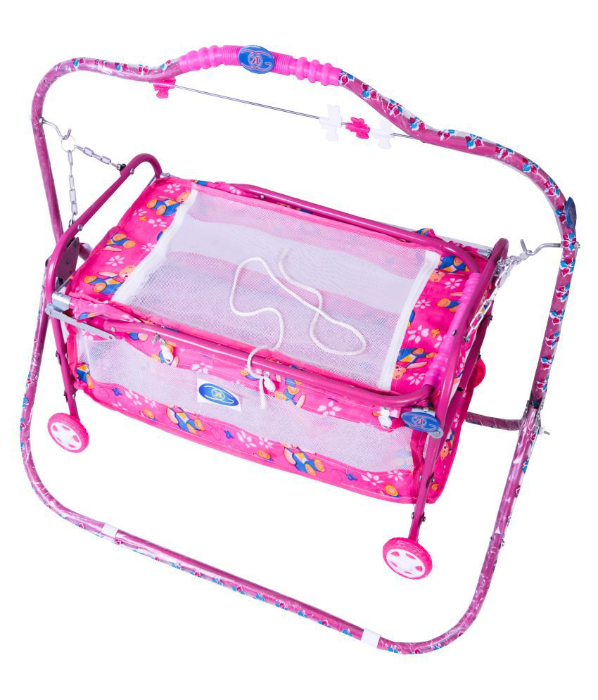 KGC Networks Pink Kids Multifunctional Baby Bassinet with Mosquito Net