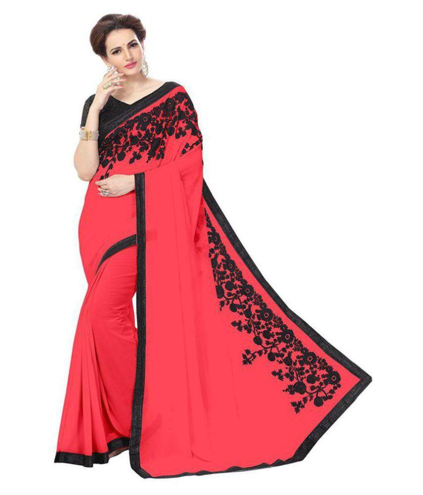 Varya Fashion Red Georgette Saree