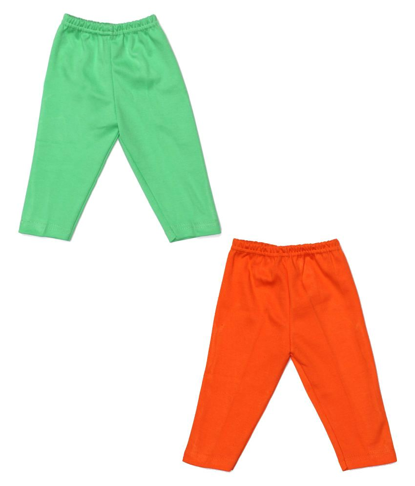 Babeezworld Multicolour Soft Cotton Full Length Baby Track Pant with Elasticated Waist for Boys & Girls - Set of 2