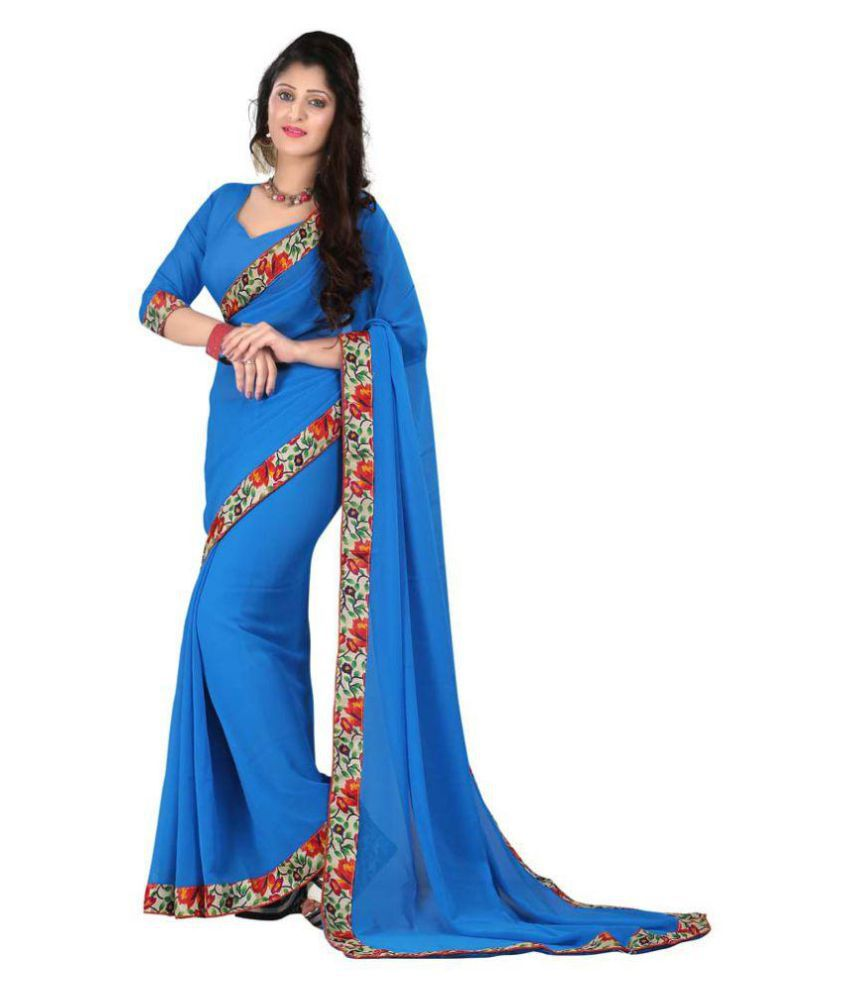 More And More Blue Chiffon Saree