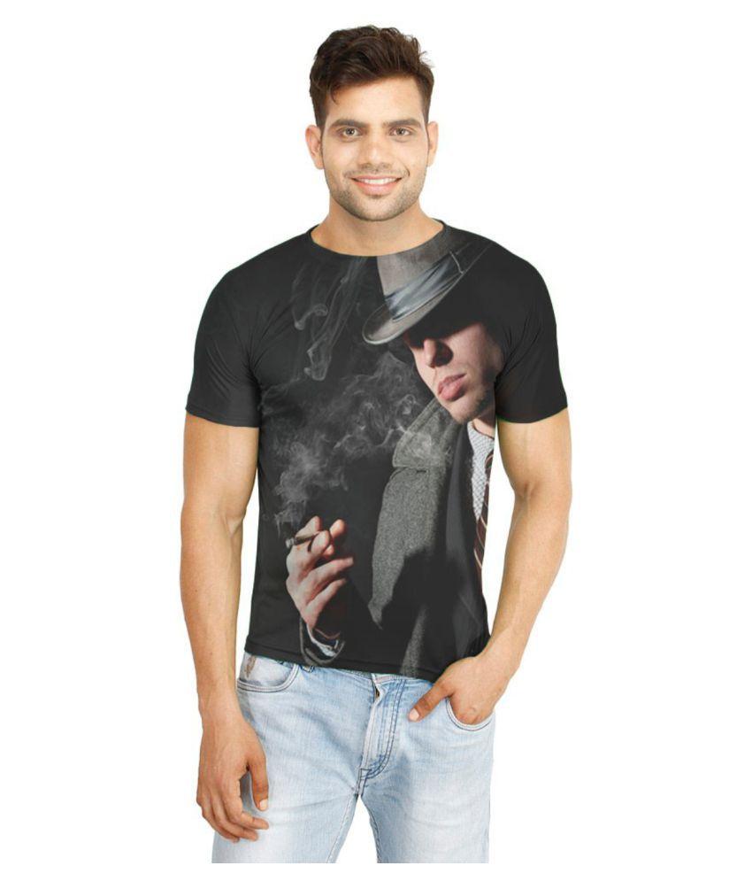 Atheno Black Polyester T-Shirt