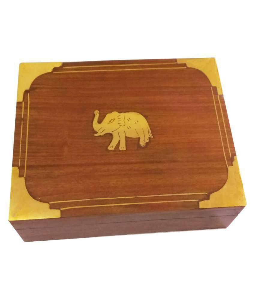Craft Art India Wooden Handmade Decorative Jewellery Box with Beautiful Carving