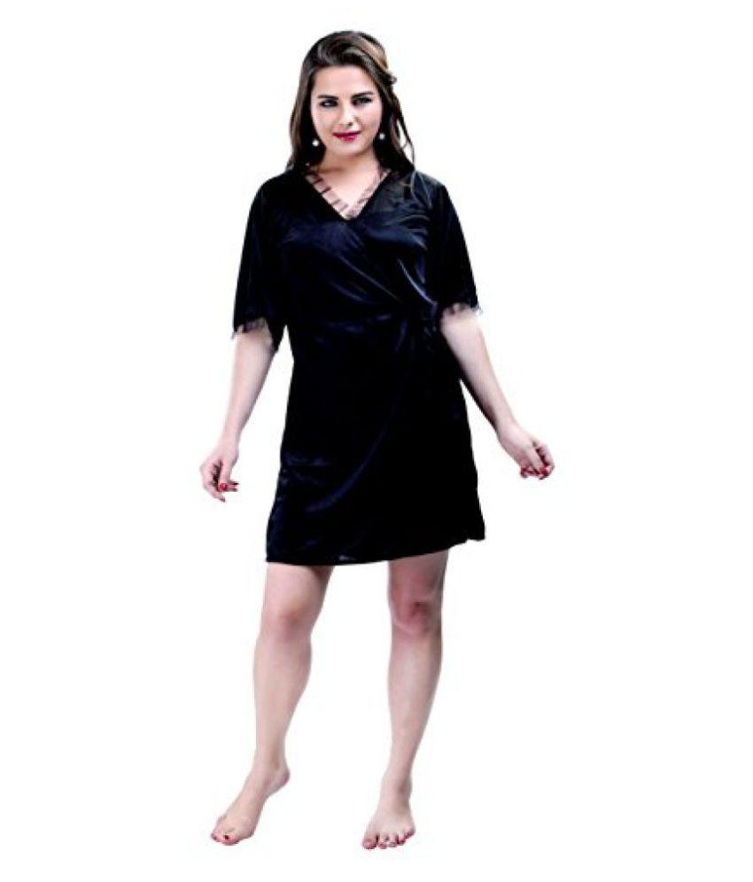 Hot 'N' Sweet Womens Satin Nightwear -Black -Free Size