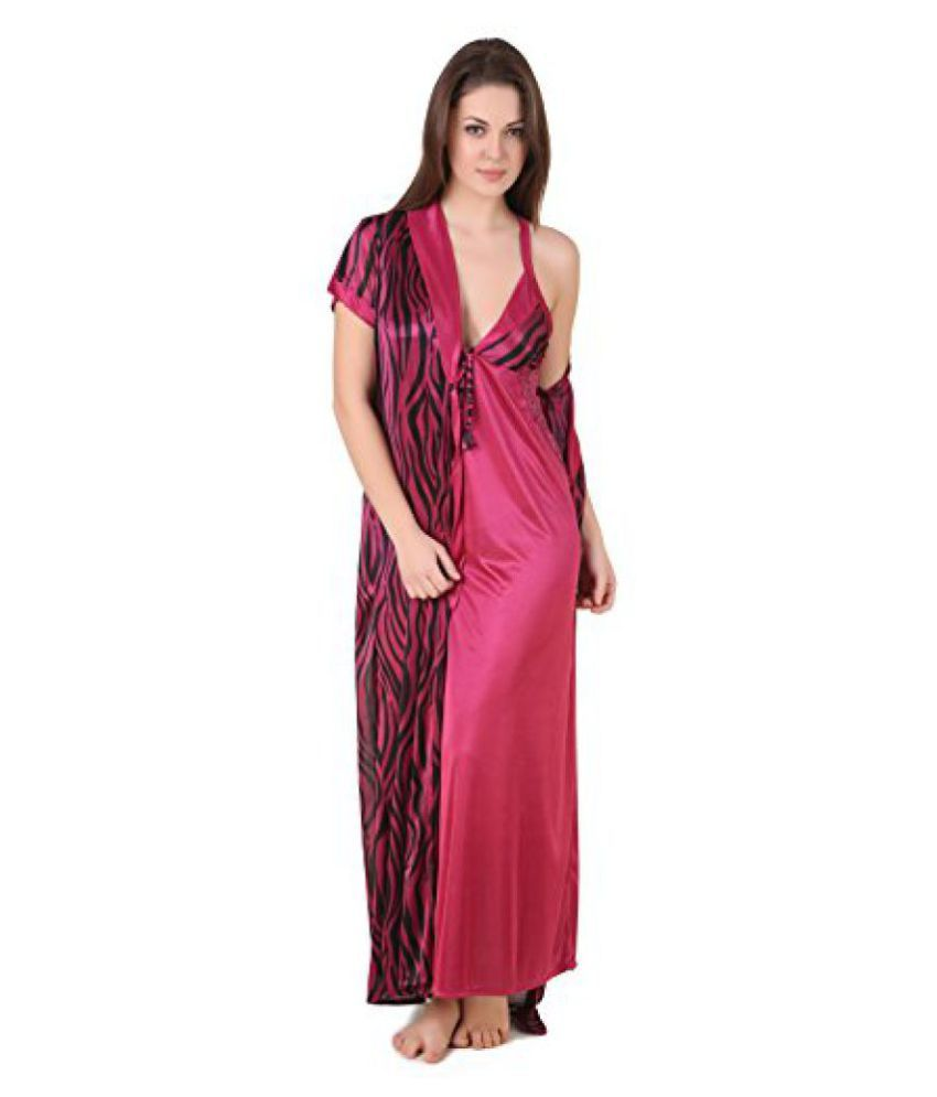 8e996c84c4 Buy Masha Women Satin Coat Nightdresses & Nightshirt (Hcbd2Pc77-266 _Maroon  _Free Size) Online at Best Prices in India - Snapdeal