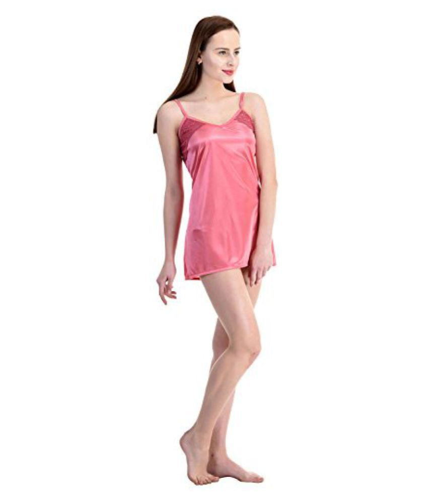 Buy Womens Satin Short Nighty (Pink) Online at Best Prices in India ... d316596b0