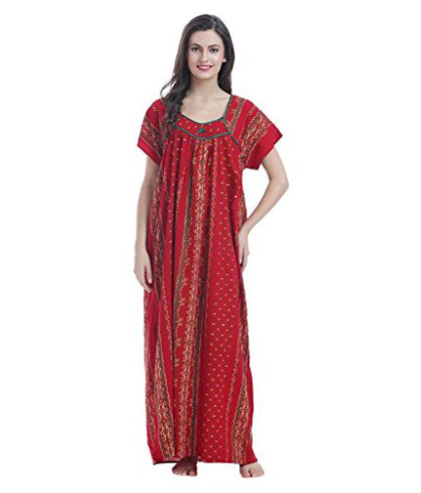 Miavii Women's Polka Dot Printed Full Length Cotton Nighty-Bust Size(44 to 46)-No Shrinkage & No Colour Bleeding