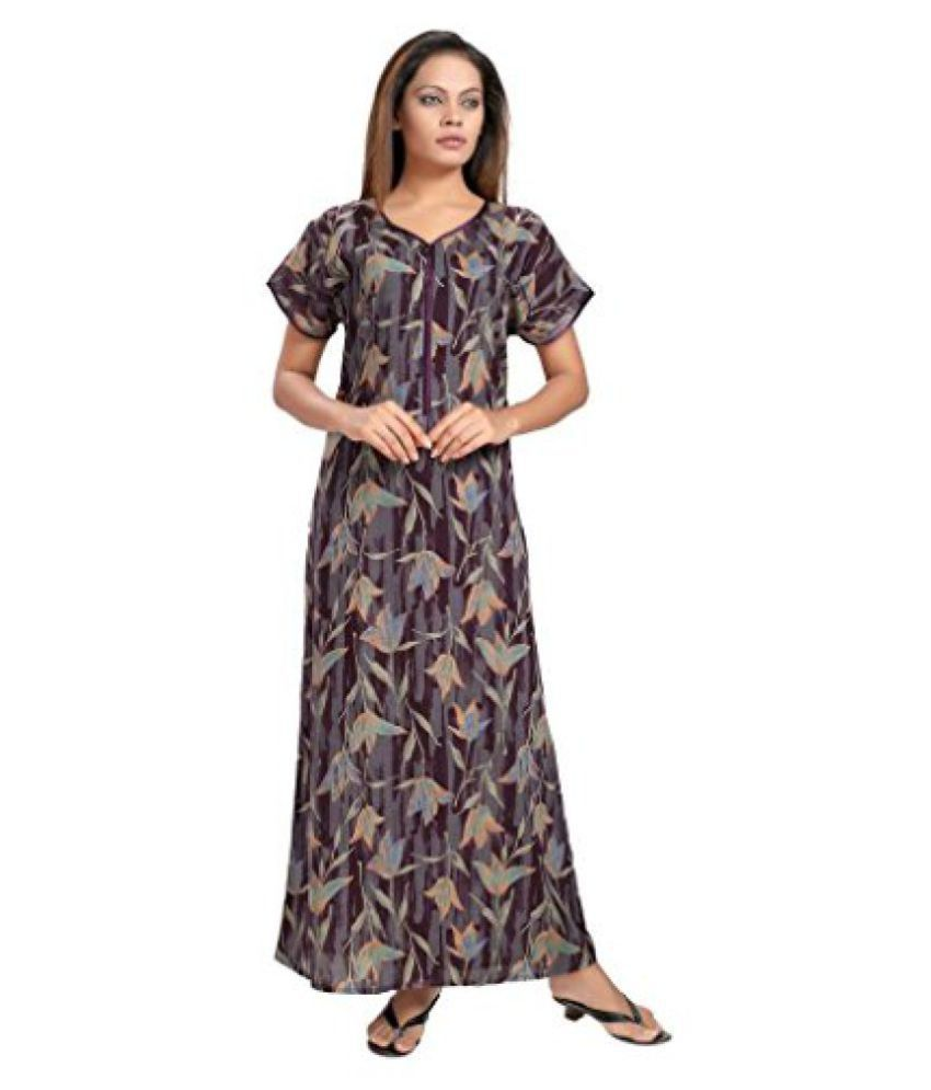 00b28a9b86 Buy Piu Women's Front Open Zipper Cotton Nighty Online at Best Prices in  India - Snapdeal