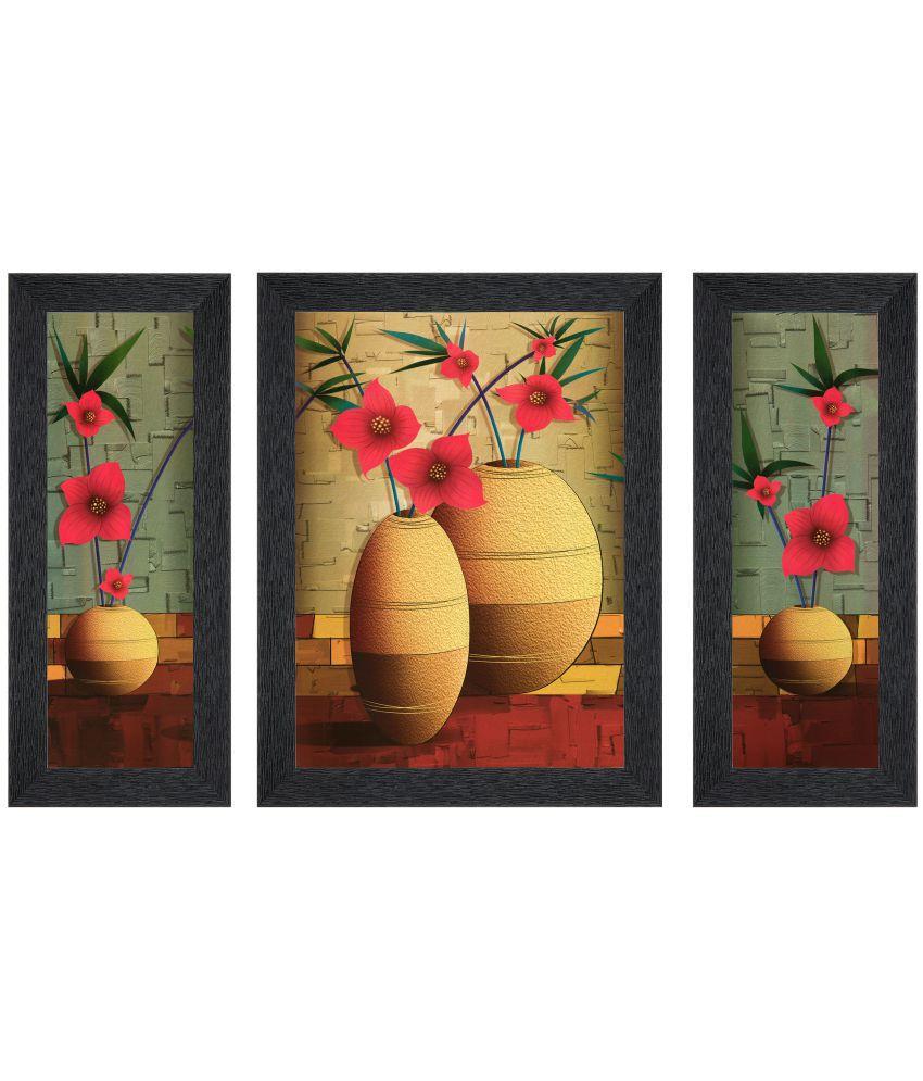 JAF Multi color Floral Matte MDF Painting With Frame Set of 3