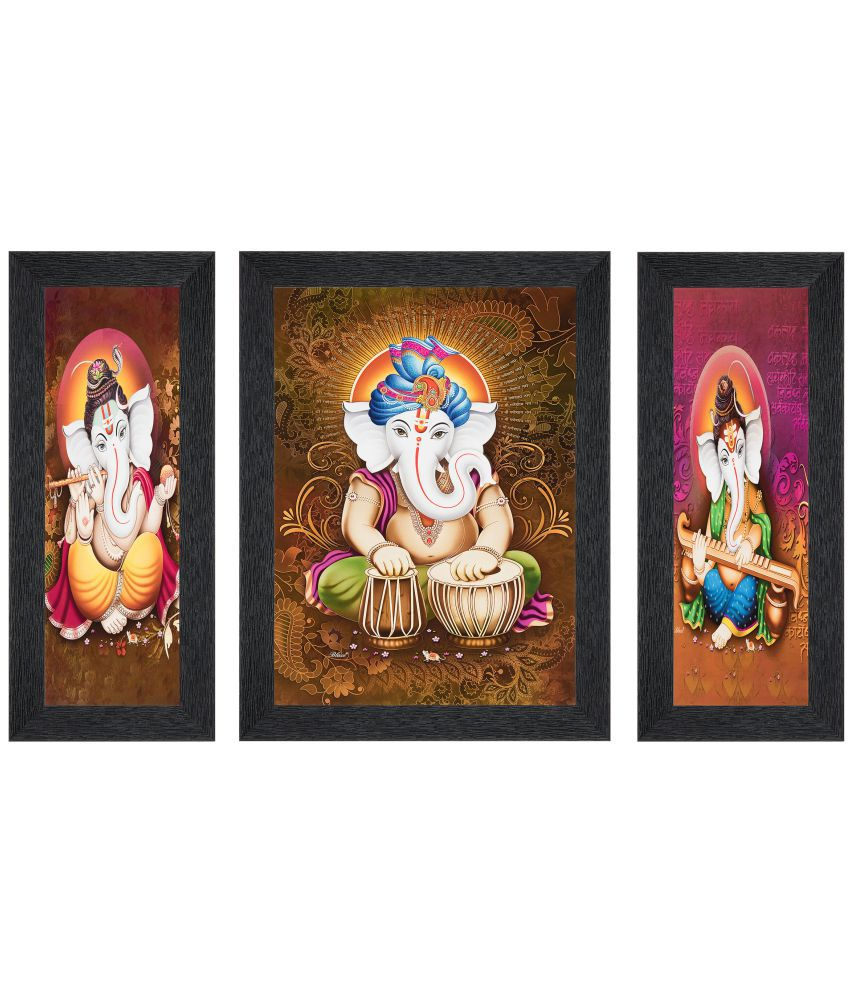 JAF Multicolor Matte Ganesha  painting MDF Painting With Frame Set of 3