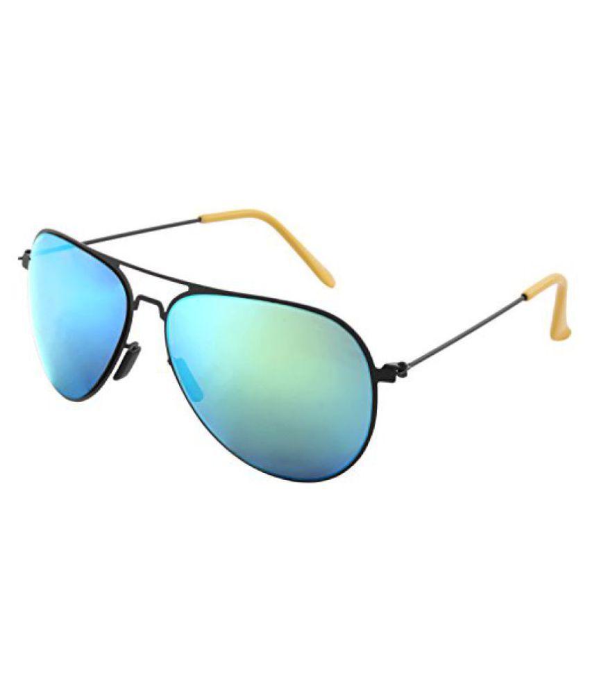 UV Protected Mirror Aviator Unisex Sunglasses -(IND-0113R|Green Lens)