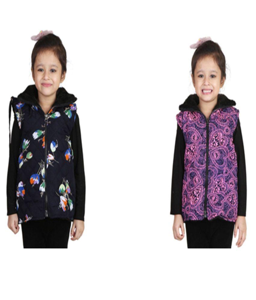 Crazeis Multicolour Nylon Light Weight Jacket for Girls