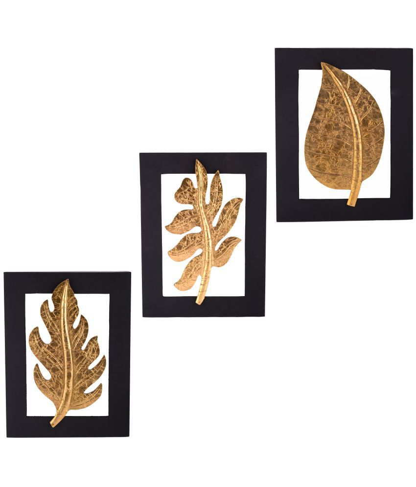 Giftadia Gold Leaf Wooden Abstract Artpiece Wall Hanging - Combo of 3 Wood Painting With Frame Set of 3