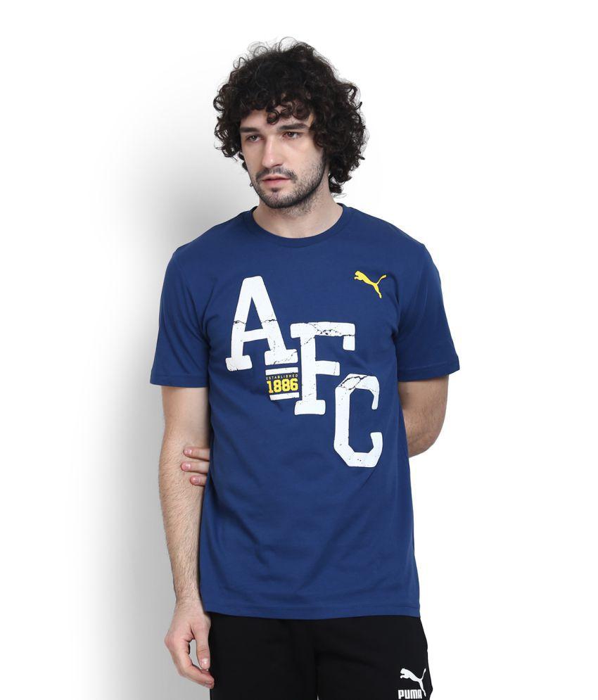 Puma Blue Cotton T Shirt