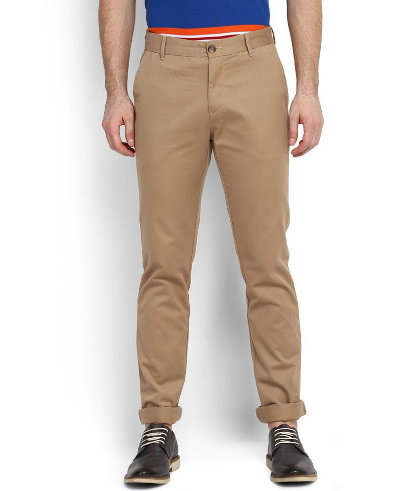 U.S. Polo Assn. Beige Regular Flat Chinos