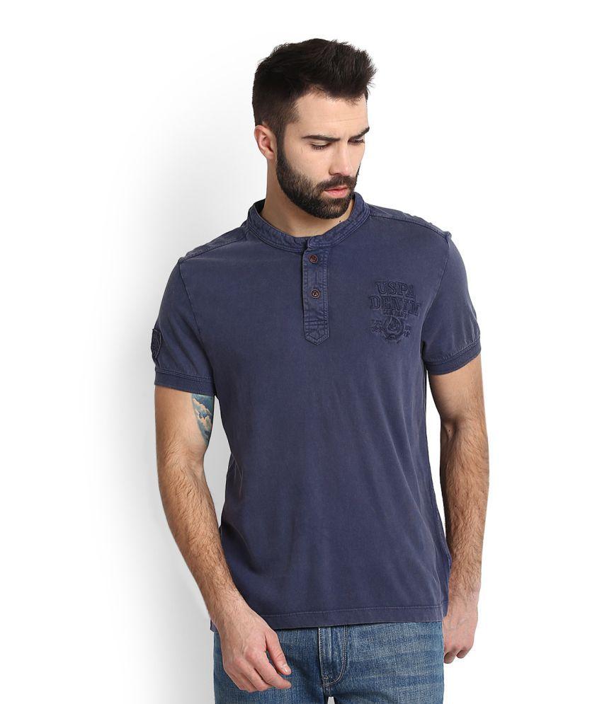 0ffb3f71d U.S. Polo Assn. Blue Henley T-Shirt Price in India | Buy U.S. Polo Assn.  Blue Henley T-Shirt Online - Gludo.com