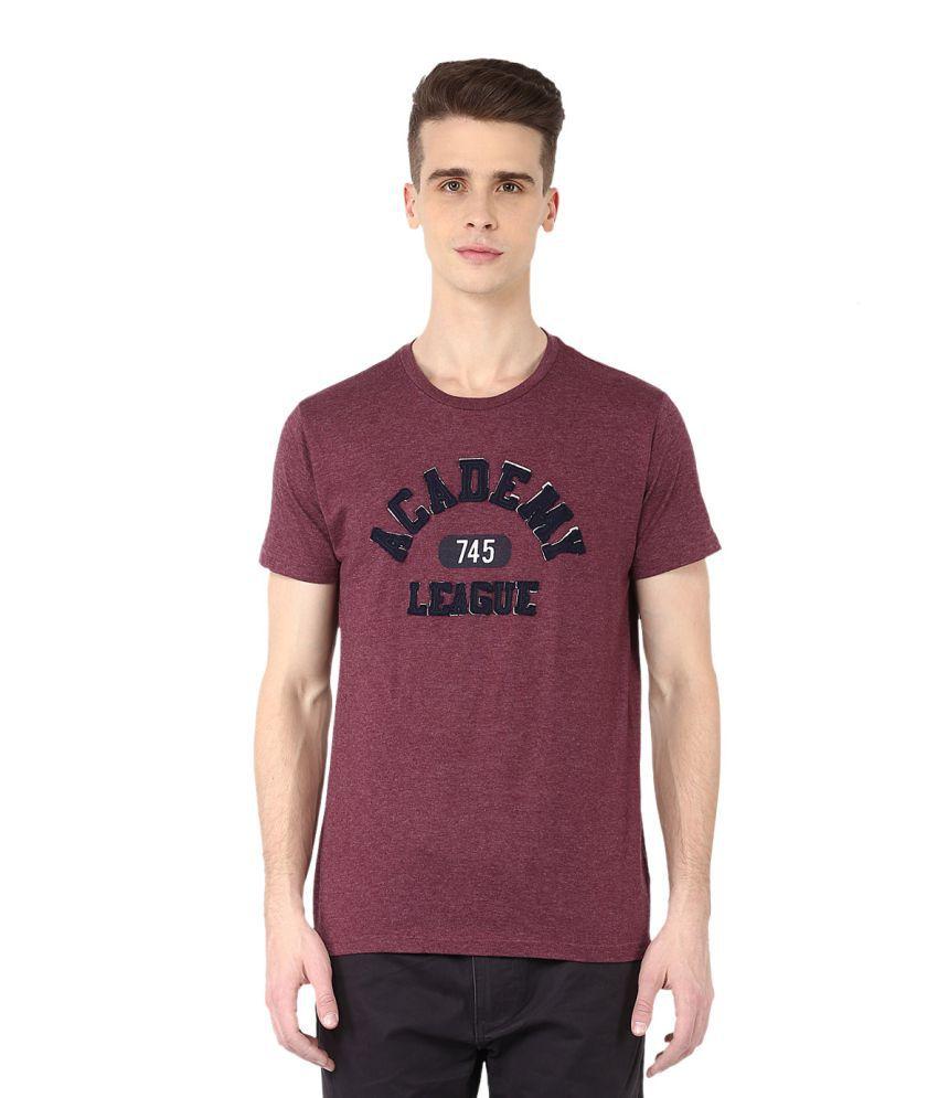 Fox Maroon Round T-Shirt