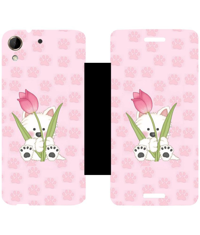 HTC Desire 728 Flip Cover by Skintice - Pink