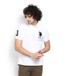 U.S. Polo Assn. White Regular Fit Polo T Shirt for sale  Delivered anywhere in India