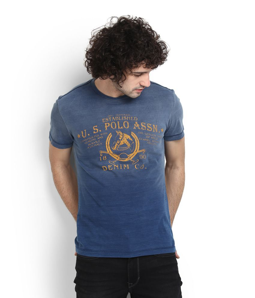 904234648 U.S. Polo Assn. Blue Round T-Shirt Price in India | Buy U.S. Polo Assn.  Blue Round T-Shirt Online - Gludo.com
