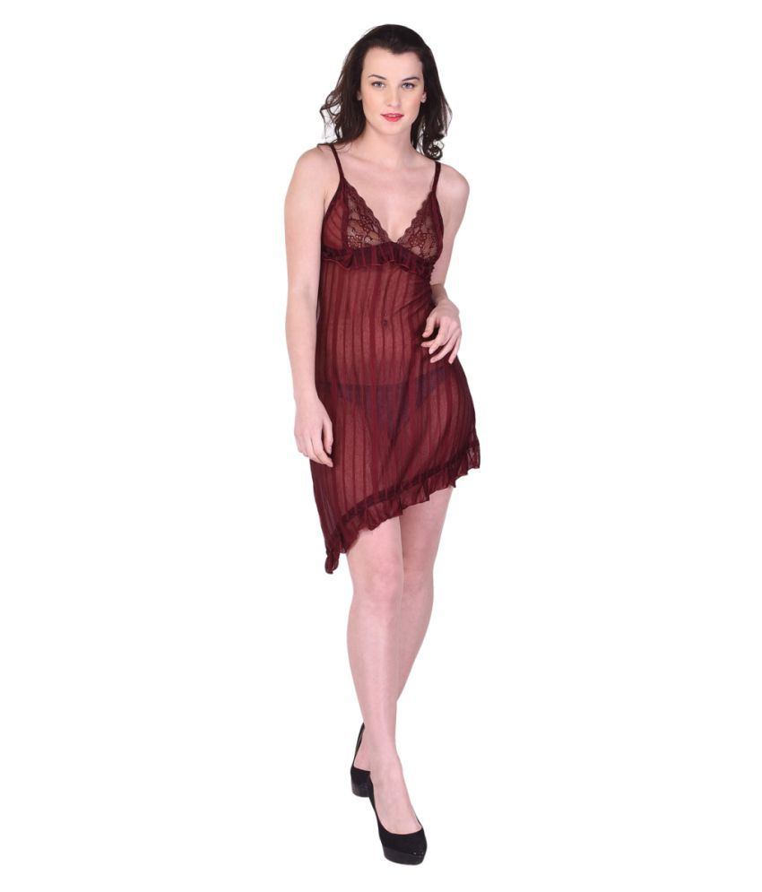 Khushfashions Satin Baby Doll Dresses With Panty