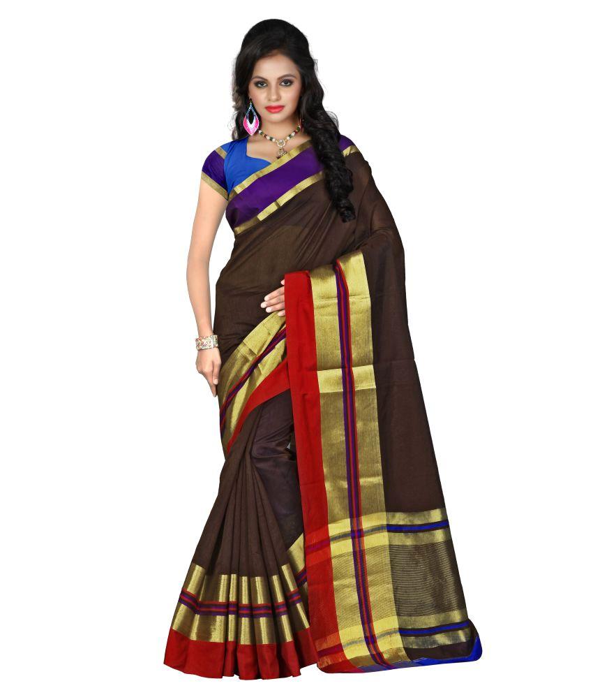 Shreeji Designer Brown Cotton Silk Saree