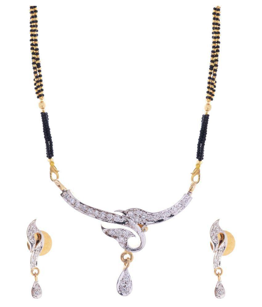 Handicraft Kottage 22 K Gold & Rhodium Plated American Diamond Triple Black