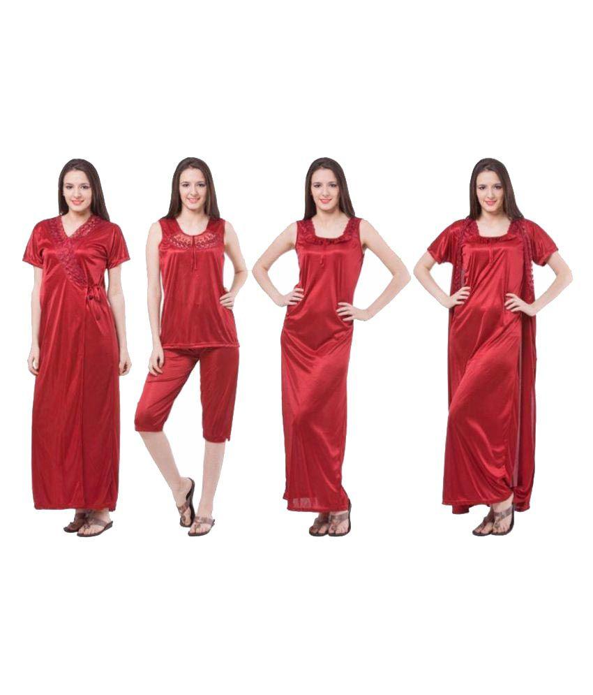 Kem Flow Gold Satin Nighty & Night Gowns