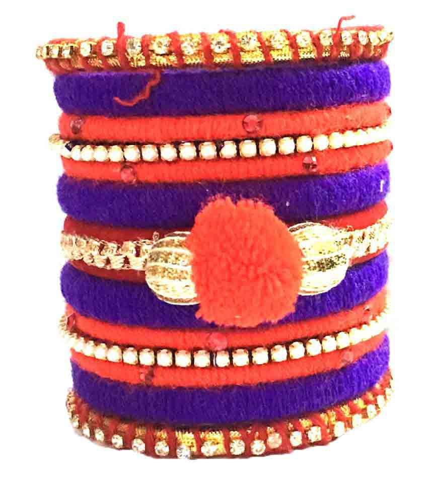 Kuhuk Multi Color Silk Thread Plastic Bangle Set PIY2476