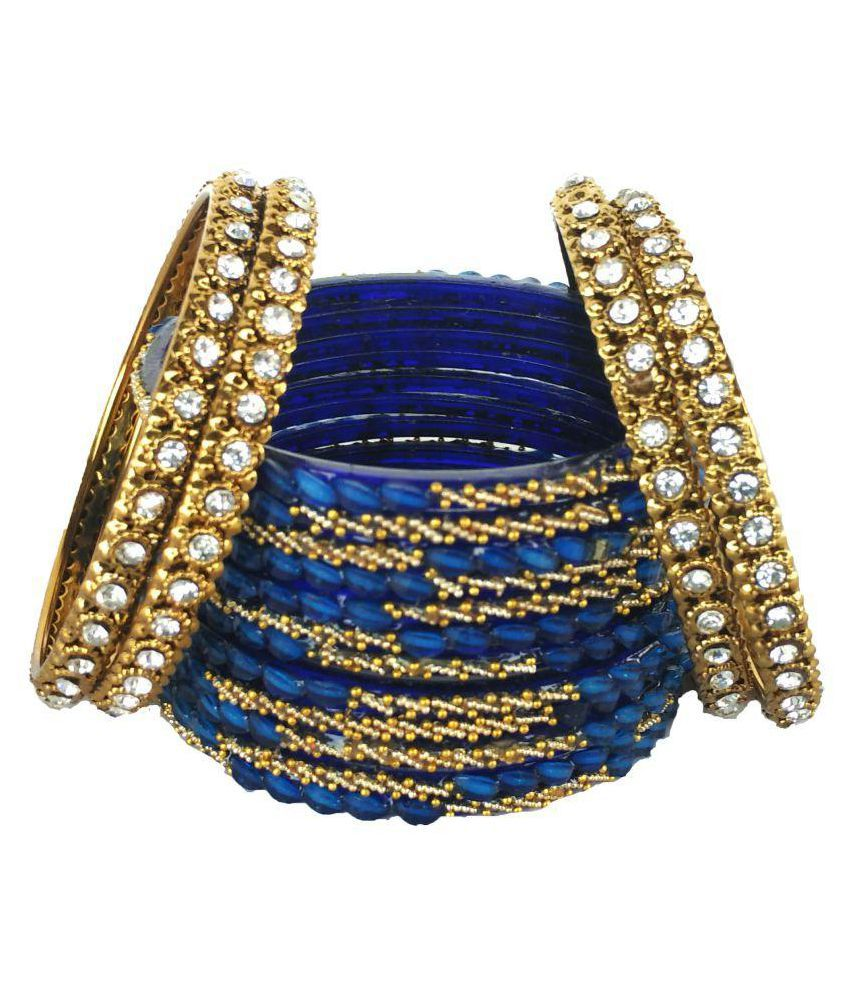 Moksha Blue Colour Glass Stone Bangle Set 12