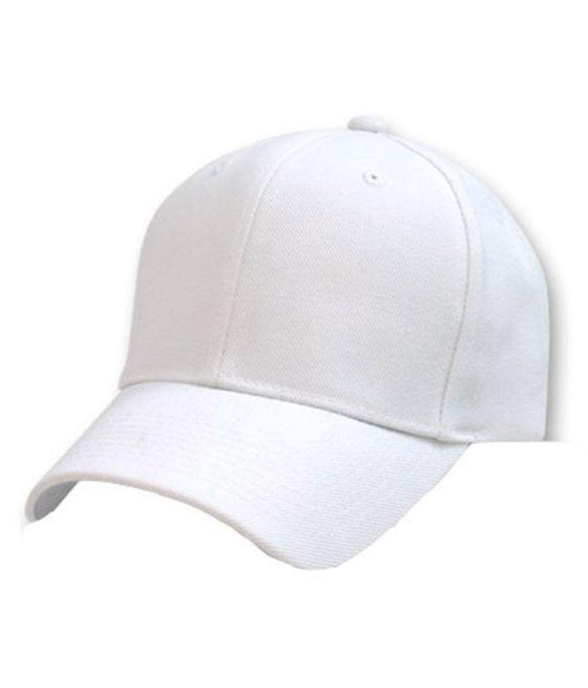 Alamos White Plain Fabric Caps