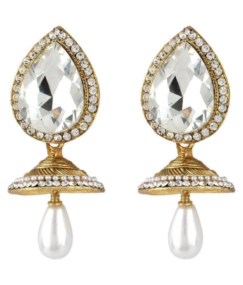 Penny Jewels American Diamond Gold Plated Jhumki Earrings