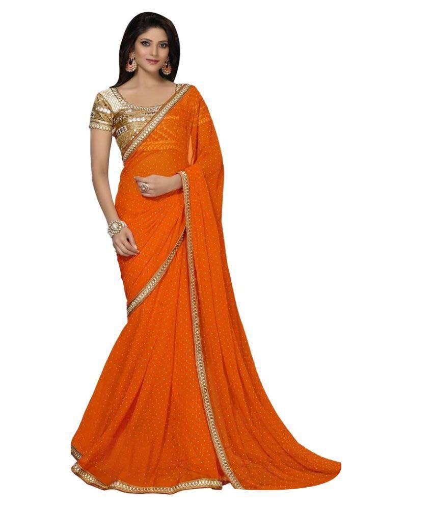 Fedor Life Co. Orange Georgette Saree