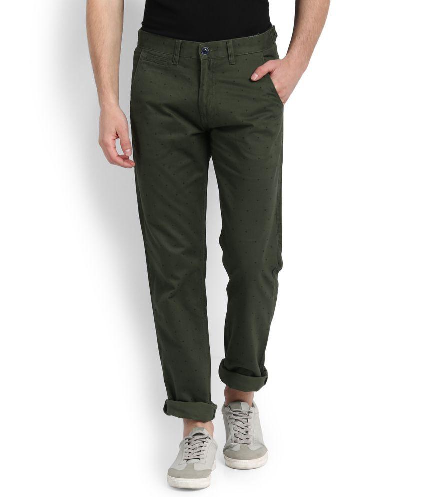 Van Heusen Sport Green Slim Flat Trousers
