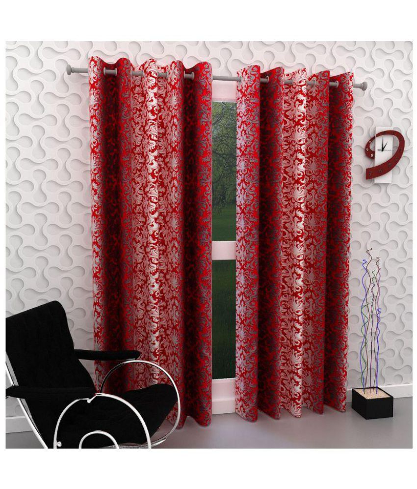Geonature Set of 2 Door Eyelet Curtains Printed Red