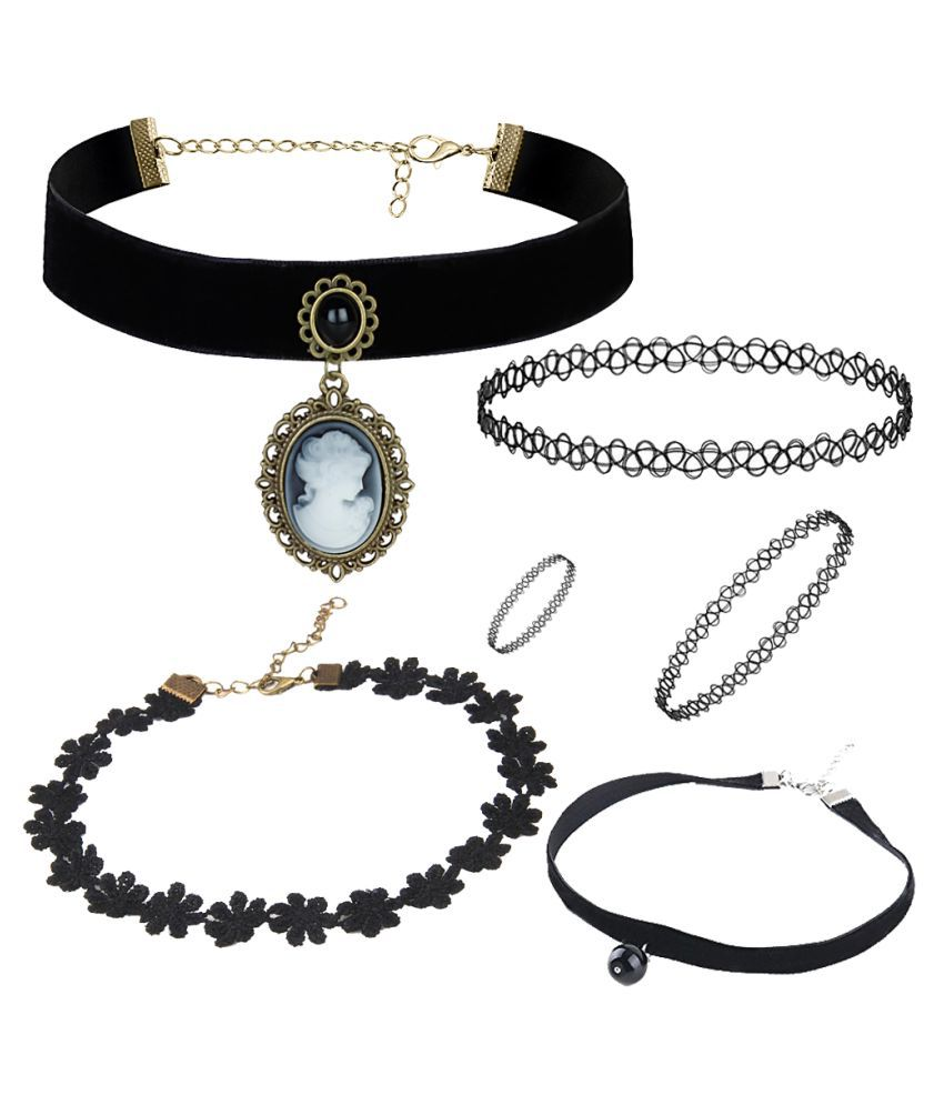 Jewels Galaxy Stunning Designed Black Lace Pearl Lace Floral Rose