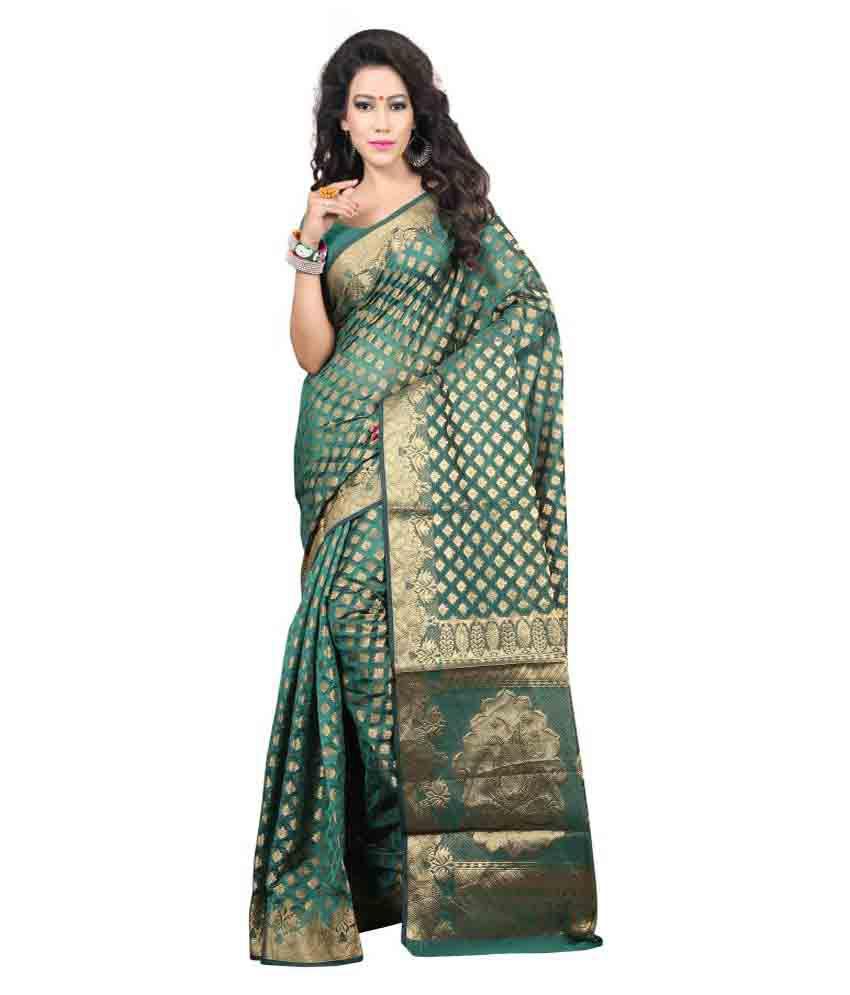 Laxmi Fashion Green Banarasi Silk Saree