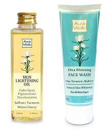 Auravedic Maximum Skin Lightening And Whitening Combo Reduce Pigmentation & Dark Spots Correcter Facial Kit 200 Gm Pack Of 2