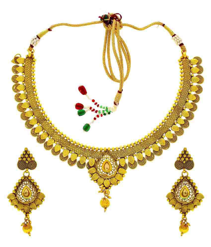 Anuradha Art Presenting This Antique Golden Finish Classy Adorable Traditional Necklace Set For Women/Girls