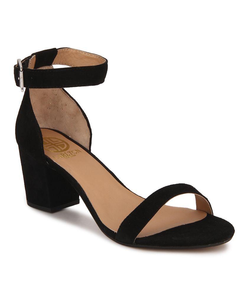 Carlton London Black Block Heels Price