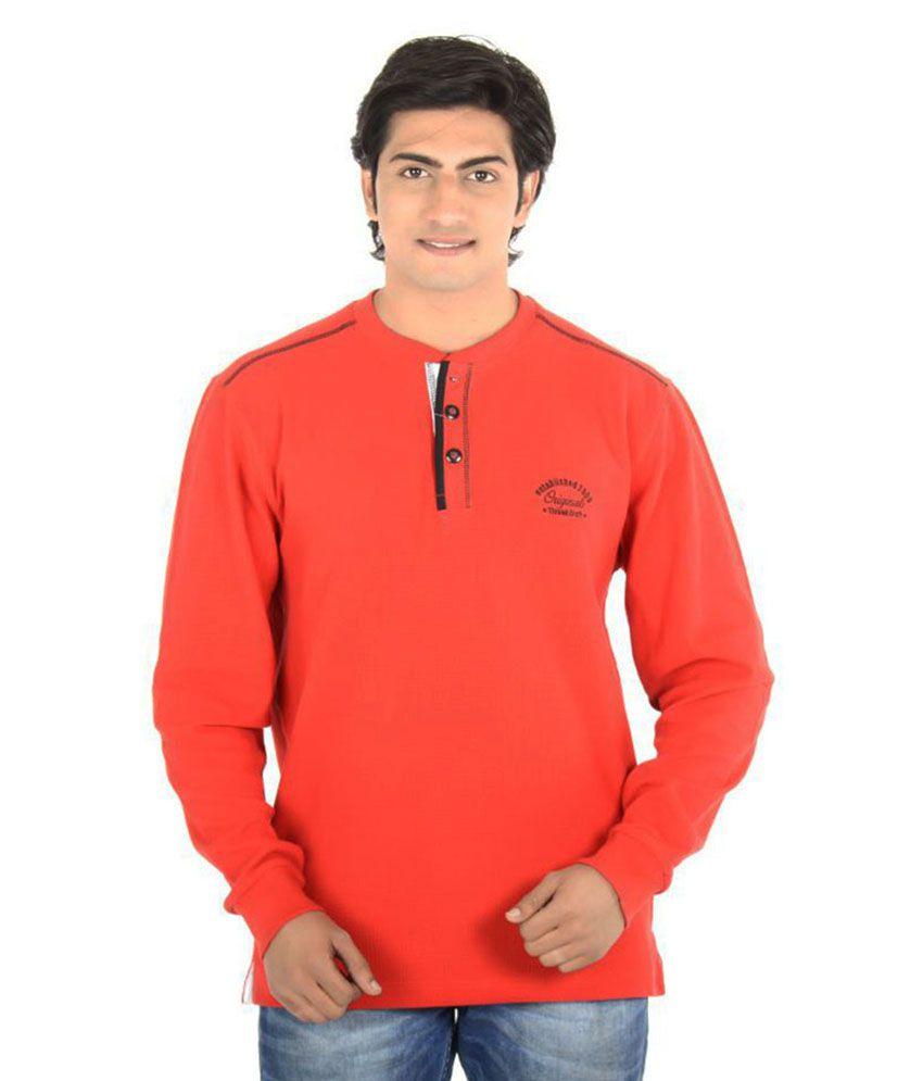 Thread Craft Red Henley T-Shirt