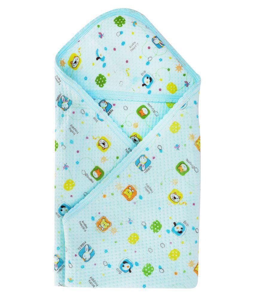 Aarushi Blue Cotton Baby Wrap cum blanket ( 75 cm × 3 cm - 1 pcs)