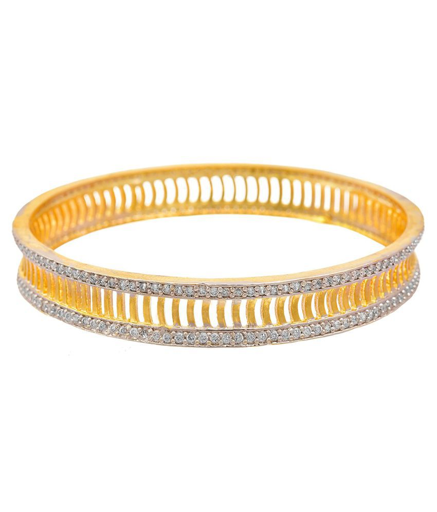 JFL - Jewellery For Less Golden Copper Bangle With Free Crystal Pendant Set (Blue)