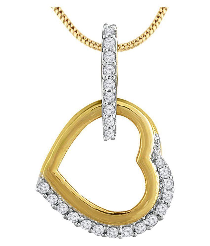 Spargz Gold Plated CZ Diamond Romantic Heart Pendant Women AIP 156