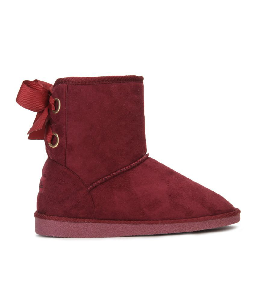 ... Carlton London Maroon Ankle Length UGG Boots ...