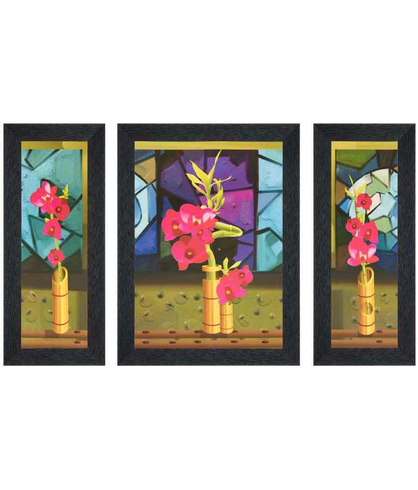 JAF Flower MDF Painting With Frame Set of 3