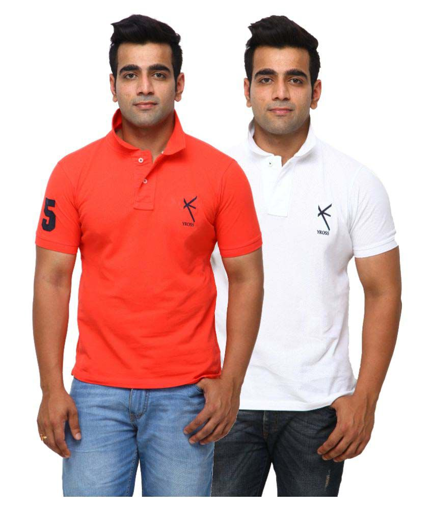 Yross Orange Cotton Polo T-shirt Pack of 2