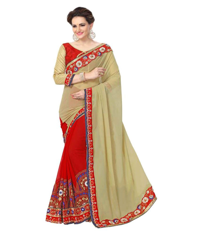 Glamour Tex Red Georgette Saree